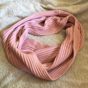 Pink infinity scarf.